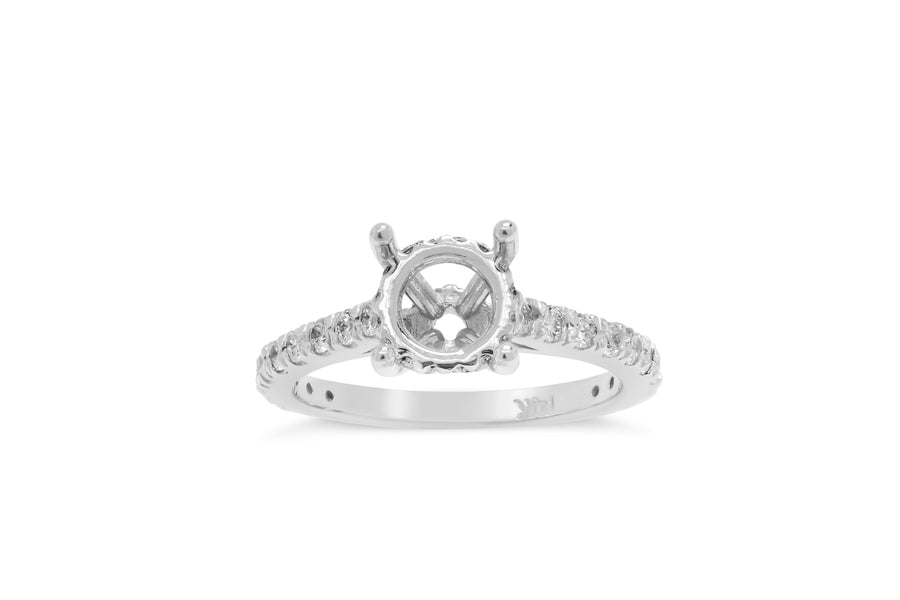 Dianne Prong Set with Under Halo Engagement Setting (Setting Only) 0.66 ct tw 14K White Gold ESET009