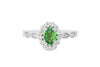 0.61 Oval Green Garnet Diamond Ring 0.39 CT TW 14K White Gold GRGR001 - NorthandSouthJewelry