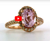 2.76 CT Oval Kunzite Diamond Ring 0.40 CT TW Diamonds 14K Rose Gold KZR001 - NorthandSouthJewelry
