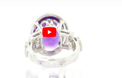 8.1 CT Oval Amethyst Diamond Ring 0.41 CT TW 14K White Gold AMR002 - NorthandSouthJewelry
