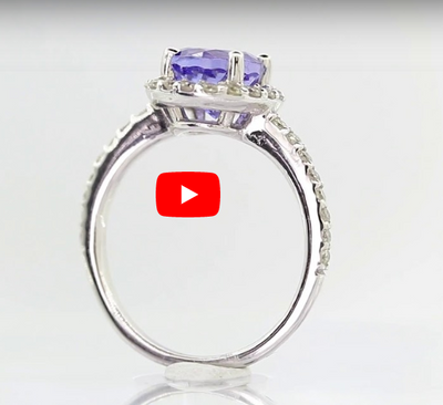 1.93 CT Tanzanite Diamond Ring 0.41 CT TW 14K White Gold TZR010 - NorthandSouthJewelry