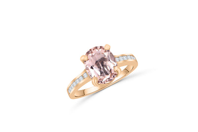 3.24 CT Oval Kunzite Diamond Ring 0.31 CT TW Diamonds 14K Rose Gold KZR003 - NorthandSouthJewelry