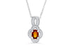 0.96 CT Pave Clover Oval Cut Mandarin Garnet Diamond Pendant 0.13 CT TW 14K White Gold MGPEN001 - NorthandSouthJewelry