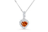 1.03 CT Pave Heart Shape Mandarin Garnet Diamond Pendant 0.25 CT TW 14K White Gold - NorthandSouthJewelry