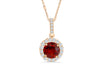 2.55 CT Halo Round Cut Mandarin Garnet Diamond Pendant 0.45 CT TW 14K Rose Gold MGPEN003 - NorthandSouthJewelry
