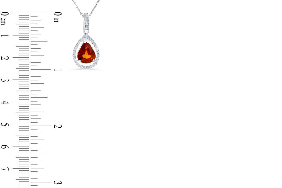 3.67 CT Halo Pear Cut Mandarin Garnet Diamond Pendant 0.36 CT TW 14K White Gold MGPEN004 - NorthandSouthJewelry