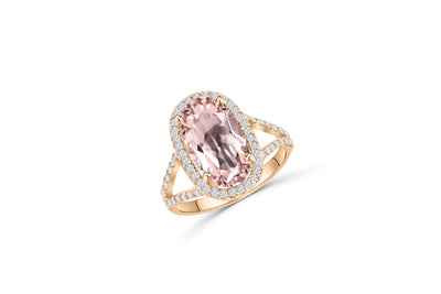 14K Rose Gold, v-split ring with a 4.19 CT oval cut kunzite center stone. oval shaped diamond halo surrounds the center stone.