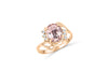 1.66 CT Oval Morganite Diamond Ring 0.09 CT TW Diamonds 14K Rose Gold MGR004 - NorthandSouthJewelry