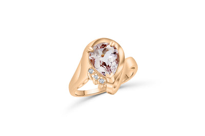 14K Rose gold, diamond engagement ring with a 1.86 CT pear-cut morganite centerstone