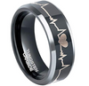 8MM BLACK TUNGSTEN-CARBIDE HEARTBEAT POLISHED BEVELED EDGE