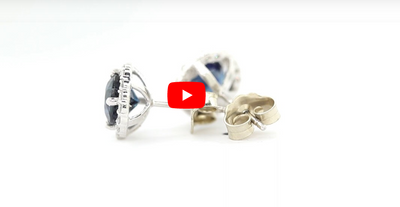1.85 CT Blue Sapphire Diamond Earring 0.35 CT TW 14K White Gold SER006 - NorthandSouthJewelry