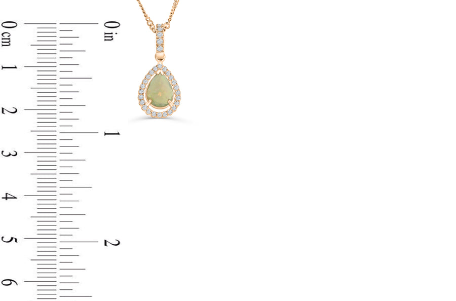 0.72 CT Pear Opal Diamond Pendant 0.25 CT TW 14K Rose Gold OPEN001 - NorthandSouthJewelry