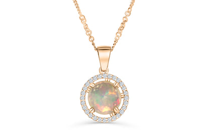 1.89 CT Opal Diamond Pendant 0.27 CT TW 14K Rose Gold OPEN002 - NorthandSouthJewelry