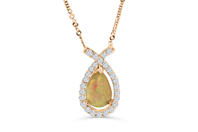1.66 CT Pear Opal Diamond Pendant 0.66 CT TW 14K Rose Gold OPEN004 - NorthandSouthJewelry