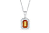 1.38 CT Pave Halo Emerald Cut Orange Sapphire Diamond Pendant 0.20 CT 14K White Gold OSPEN002 - NorthandSouthJewelry