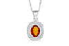 2.10 CT Pave Halo Oval Cut Orange Sapphire Diamond Pendant 0.29 CT TW 14K White Gold OSPEN003 - NorthandSouthJewelry