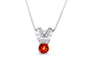 1.18 CT Round Cut Orange Sapphire Diamond Pendant 0.12 CT TW 14K White Gold OSPEN004 - NorthandSouthJewelry