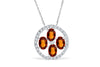2.71 CT TW Oval Cut Orange Sapphire Diamond Pendant 0.31 CT TW 14K White Gold OSPEN005 - NorthandSouthJewelry