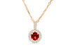 0.82 CT Pave Halo Round Cut Orange Sapphire Diamond Pendant 0.21 CT TW 14K Rose Gold OSPEN007 - NorthandSouthJewelry