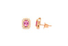 1.00 CT Oval Pink Sapphire Diamond Earring 0.27 CT TW Diamonds 14K Rose Gold PSER004 - NorthandSouthJewelry