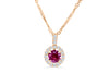 0.78 CT Round Cut Pink Sapphire Diamond Pendant 0.21 CT TW 14K Rose Gold PSPEN001 - NorthandSouthJewelry