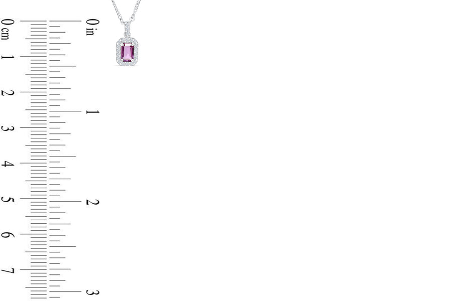 0.58 CT Halo Emerald Cut Pink Sapphire Diamond Pendant 0.20 CT TW 14K White Gold PSPEN002 - NorthandSouthJewelry