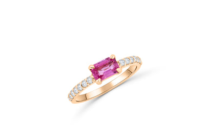 0.80 CT Emerald Cut Pink Sapphire Diamond Ring 0.28 CT TW 14K Rose Gold PSR004 - NorthandSouthJewelry