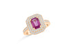 1.45 CT Emerald Cut Pink Sapphire Diamond Ring 0.63 CT TW 14K Rose Gold PSR006 - NorthandSouthJewelry