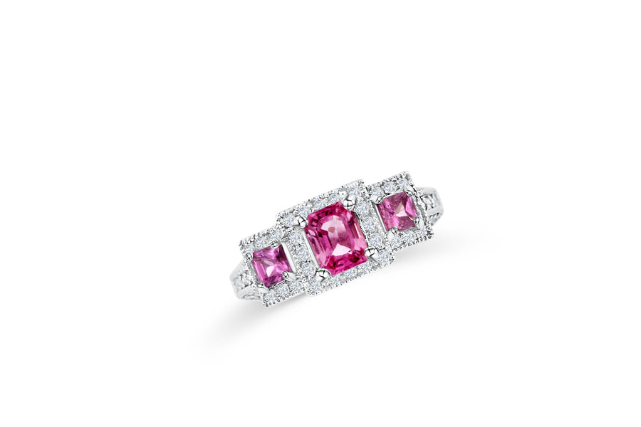 Pink Sapphire Emerald Cut Three Stone Ring 1.44 CT TW 14K White Gold PSR007 - NorthandSouthJewelry