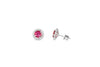 1.20 Pink Sapphire Diamond Earring 0.35 CT TW Diamonds 14K White Gold PTER001