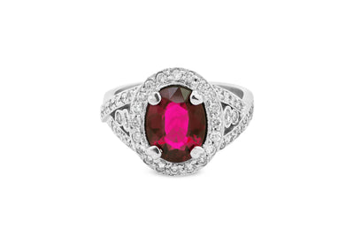 1.88 CT Oval Pink Tourmaline Diamond Ring 1.07 CT TW 14K White Gold PTR002 - NorthandSouthJewelry