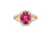2.07 CT Oval Pink Tourmaline V Split Diamond Ring 0.63 CT TW 14K Rose Gold PTR004 - NorthandSouthJewelry