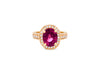 3.40 CT Oval Pink Tourmaline Diamond Ring 0.86 CT TW 14K Rose Gold PTR005 - NorthandSouthJewelry