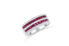 1.29 CT Princess Cut Ruby Diamond Ring 0.33 CT TW 14K White Gold RBR002 - NorthandSouthJewelry