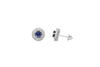 1.24 CT Ceylon Blue Sapphire Diamond Earring 0.35 CT TW Diamonds 14K White Gold SER001