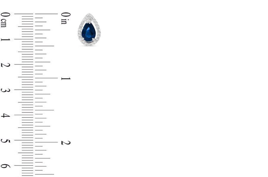 2.48 CT Pear Blue Sapphire Diamond Earring 0.37 CT TW Diamonds 14K White Gold SER003 - NorthandSouthJewelry
