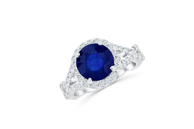 3.21 CT Sapphire Diamond Ring 0.83 CT TW 14K White Gold SPR002 - NorthandSouthJewelry