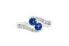 0.85 CT Sapphire Diamond Ring 0.36 CT TW 14K White Gold SPR006 - NorthandSouthJewelry
