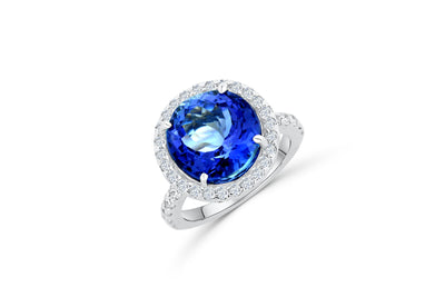 7.17 CT Round Tanzanite Diamond Ring 0.85 CT TW Diamonds 14K White Gold TZR002 - NorthandSouthJewelry