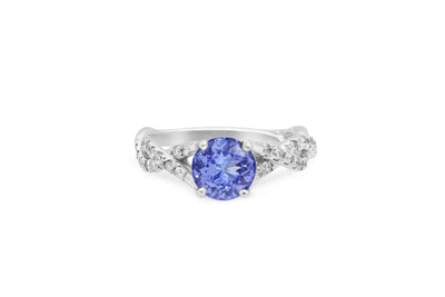 1.25 CT Tanzanite Diamond Ring 0.30 CT TW 14K White Gold TZR006 - NorthandSouthJewelry