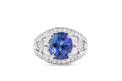 3.03 CT Oval Tanzanite Diamond Ring 0.55 CT TW 14K White Gold TZR007 - NorthandSouthJewelry