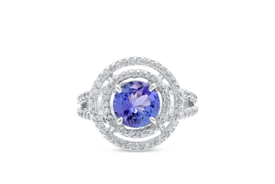 1.48 CT Tanzanite Diamond Ring 0.55 CT TW 14K White Gold TZR008 - NorthandSouthJewelry