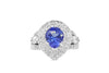 2.30 CT Pear Cut Tanzanite Diamond Ring 1.27 CT TW 14K White Gold TZR012 - NorthandSouthJewelry