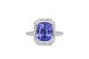 2.82 CT Emerald Cut Tanzanite Diamond Ring 0.38 CT TW 14K White Gold TZR014 - NorthandSouthJewelry