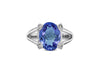 3.91 CT Oval Tanzanite Diamond Ring 0.32 CT TW 14K White Gold TZR015 - NorthandSouthJewelry