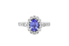 0.97 CT Oval Tanzanite Diamond Ring 0.45 CT TW 14K White Gold TZR017 - NorthandSouthJewelry