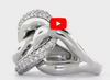 Triple Interlocked Circle Diamond Ring 0.60 ct tw Round-cut 14K White Gold DIR008 - NorthandSouthJewelry