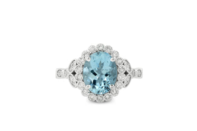 2.20 Oval Aquamarine Diamond Ring 0.60 CT TW 14K White Gold AQMR001 - NorthandSouthJewelry
