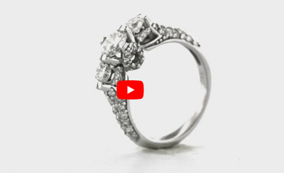 Three Stone Diamond Engagement Ring 1.55 ct tw 14K White Gold DENG063 - NorthandSouthJewelry