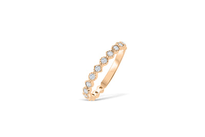 Bezel Milgrain Diamond Anniversary Band 0.45 ct tw Round-cut 14K Rose Gold BAN014 - NorthandSouthJewelry